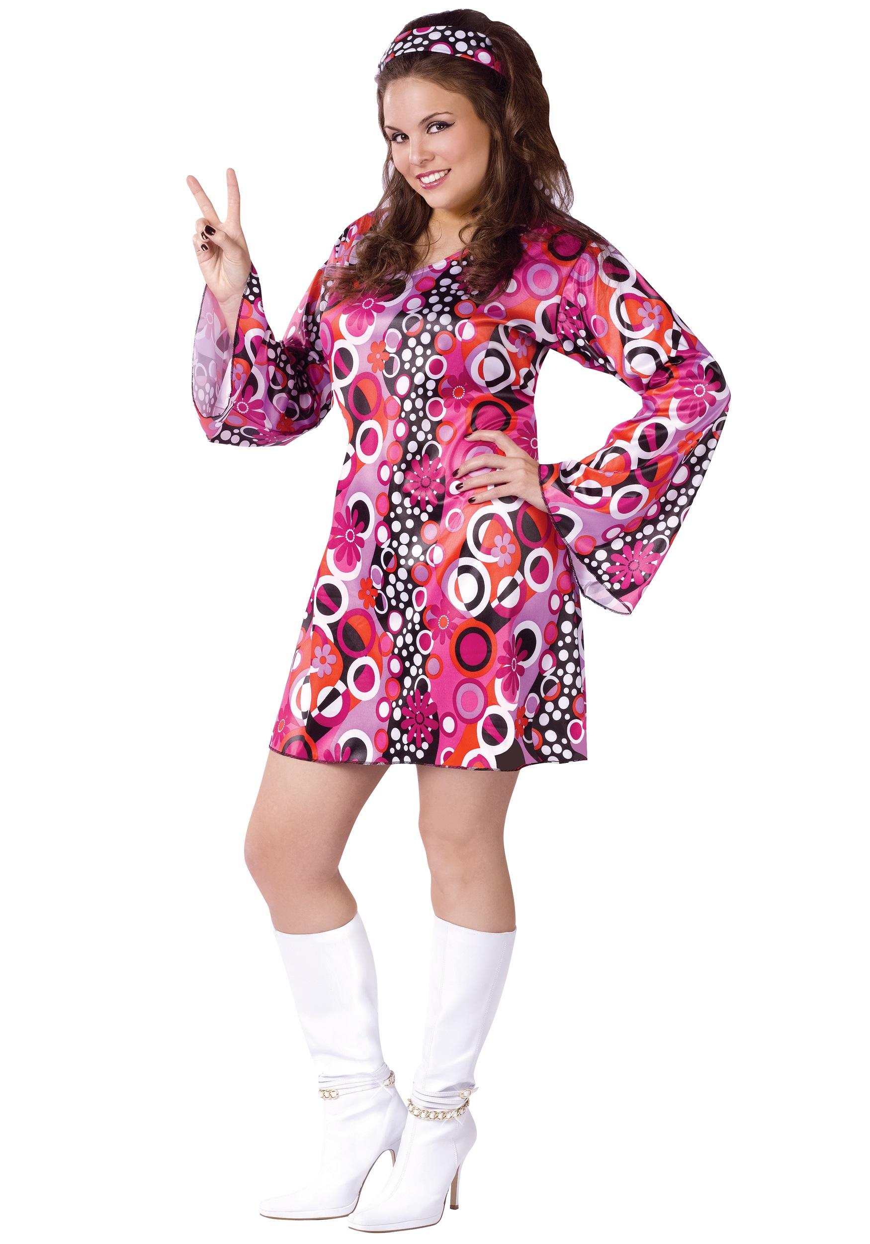 Feelin' Groovy Plus Size Dress Costume | Vintage 70s Dress