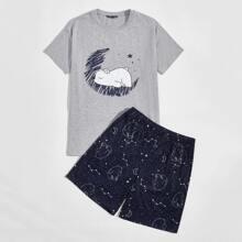 Conjunto de pijama camiseta con estampado de dibujos animados con shorts de galaxia