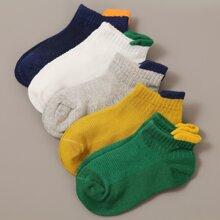 5pairs Toddler Boys Simple Cotton Socks