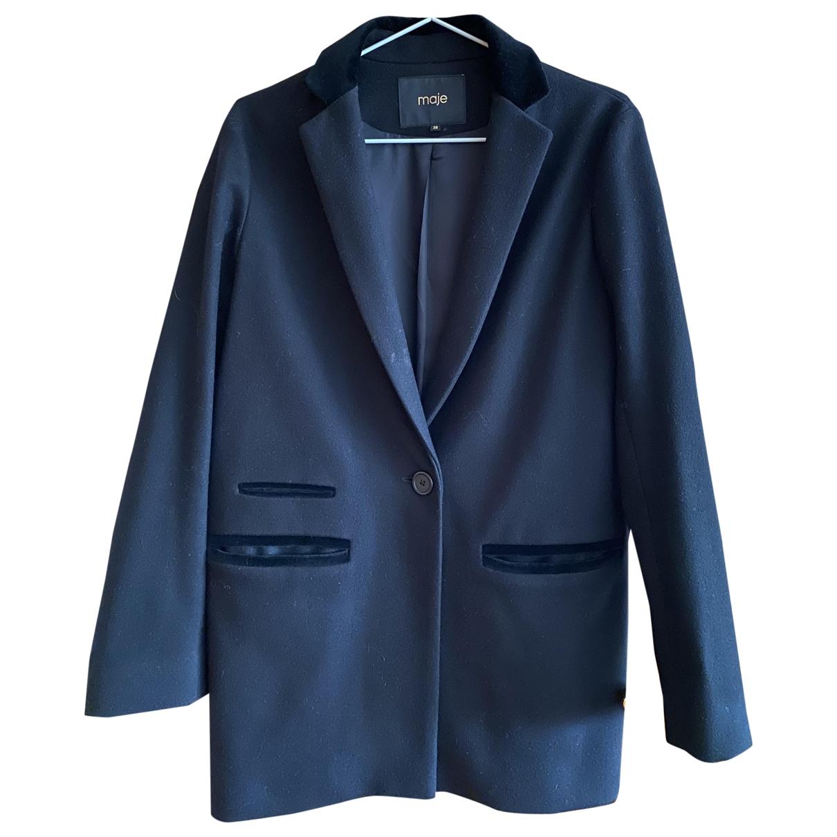 Maje Fall Winter 2019 Black Wool coat for Women 38 FR