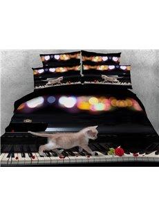 Kitten on the Keys 3D Digital Printing 5-Piece Tencel Comforter Sets