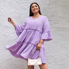 Einfarbiges Babydoll Kleid mit Rueschenbesatz