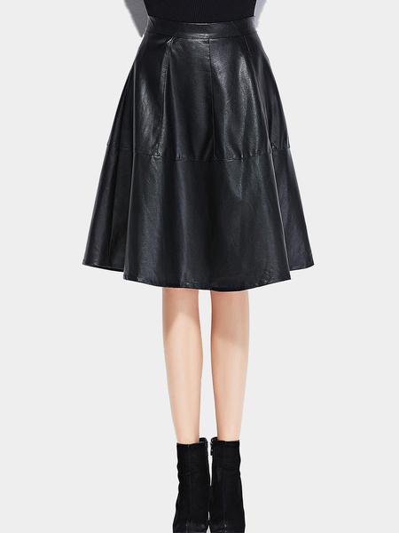 Yoins Black Leather Look A-Line Midi Skirt