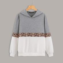 Hoodie mit Farbblock und Kontrast Leopard Muster