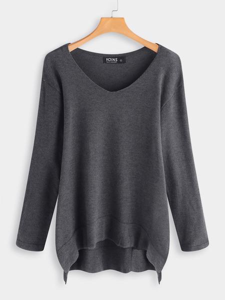 Yoins Grey Plain One Shoulder V-neck Long Sleeves Slit Hem Sweater