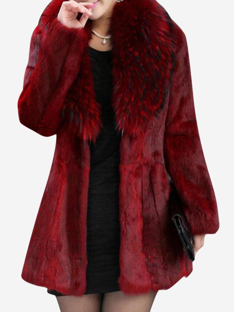 Casual Loose Solid Color Women Faux Fur Coats
