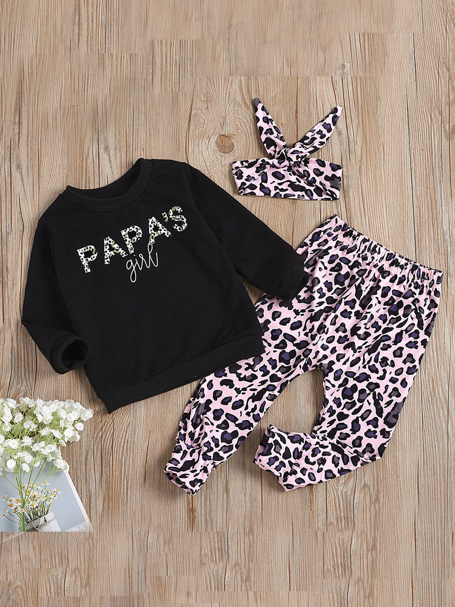 LW Lovely Casual O Neck Leopard Print Black Girl Two Piece Pants Set