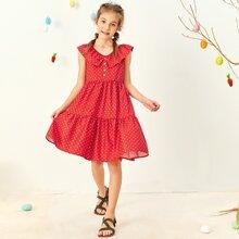 Girls Ruffle Trim Buttoned Front Dalmatian Print Dress