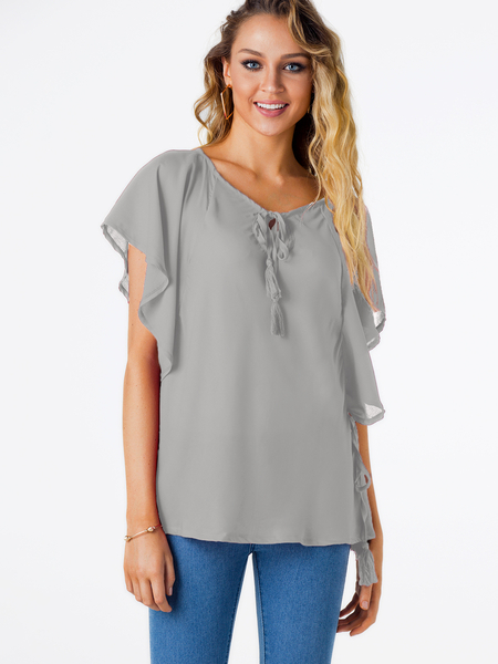 Yoins Grey Cut Out Lace-up Design Round Neck Short Sleeves Tee