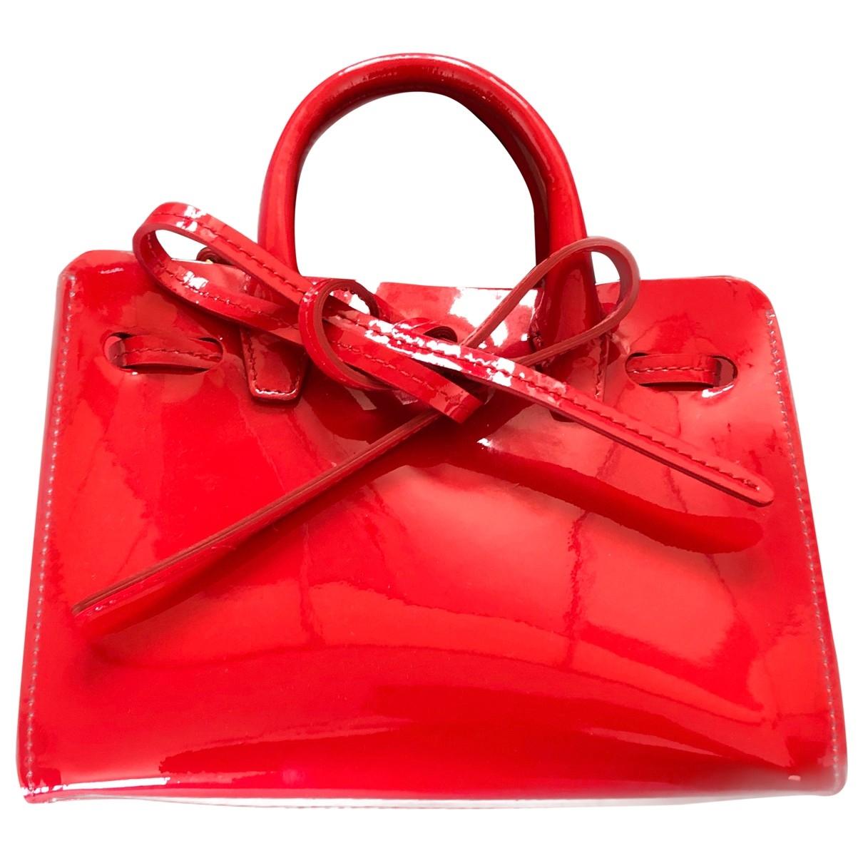 Mansur Gavriel Folded Handtasche in  Rot Lackleder