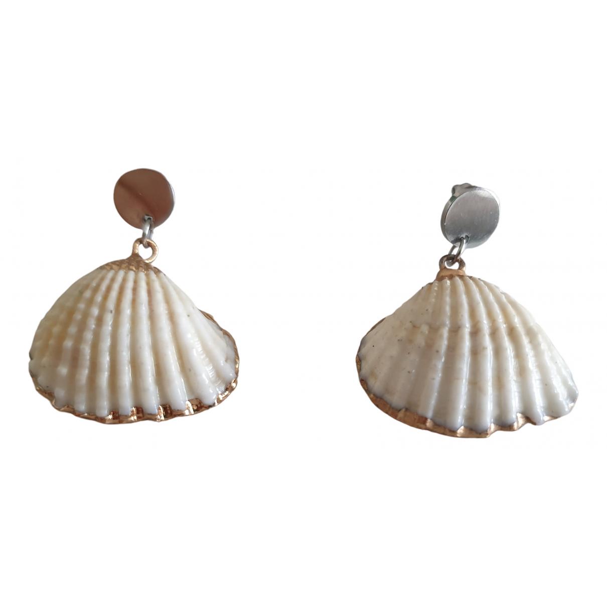 - Boucles doreilles Motifs Coquillages pour femme en metal - blanc