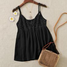 Lace Insert Babydoll Cami Top