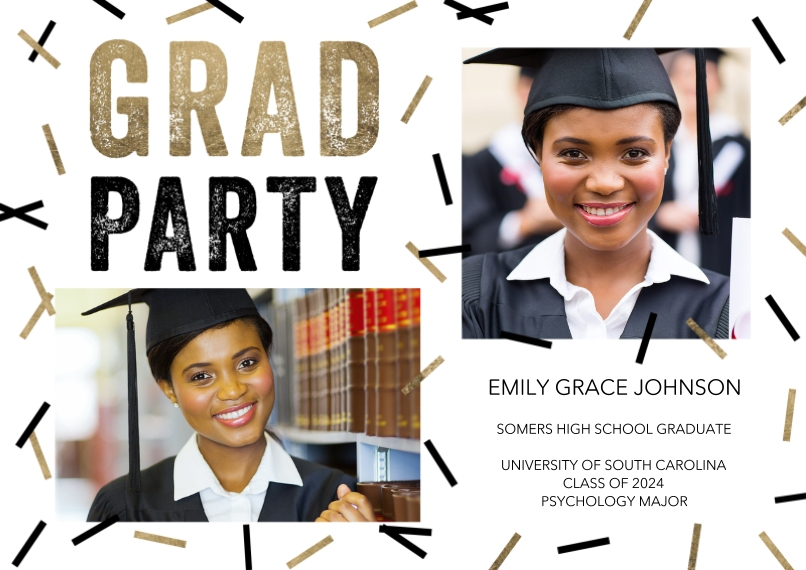 Graduation Invitations Flat Matte Photo Paper Cards with Envelopes, 5x7, Card & Stationery -Grad Party Scattered Confetti by Tumbalina