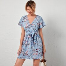 Surplice Neck Floral Print Belted Dress