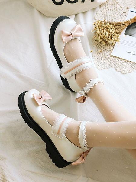 Milanoo Sweet Lolita Footwear Pink Bow Lace Round Toe PU Leather Lolita Pumps