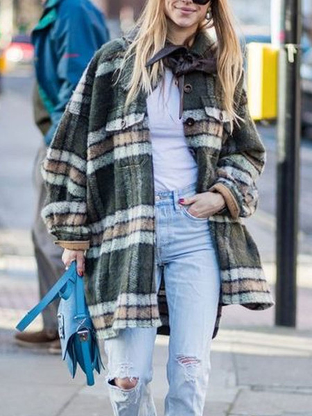 Milanoo Mujer abrigos de invierno de cuello de cobertura verde Escudo de manga larga a cuadros Maxi