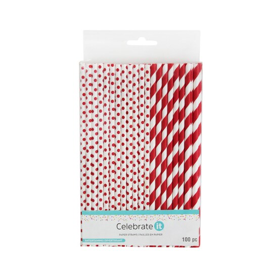 6 Packs: 100 Ct. (600 Total) Red Printed Paper Straws By Celebrate It™ Entertaining | Michaels®