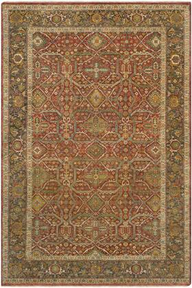 Pazyryk PZY-1001 6' x 9' Rectangle Traditional Rug in Clay  Dark Brown  Butter  Lime  Sky