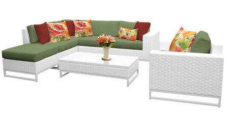 Miami MIAMI-07f-CILANTRO 7-Piece Wicker Patio Furniture Set 07f with 1 Corner Chair  2 Armless Chairs  1 Ottoman  1 Coffee Table  1 Club Chair and 1