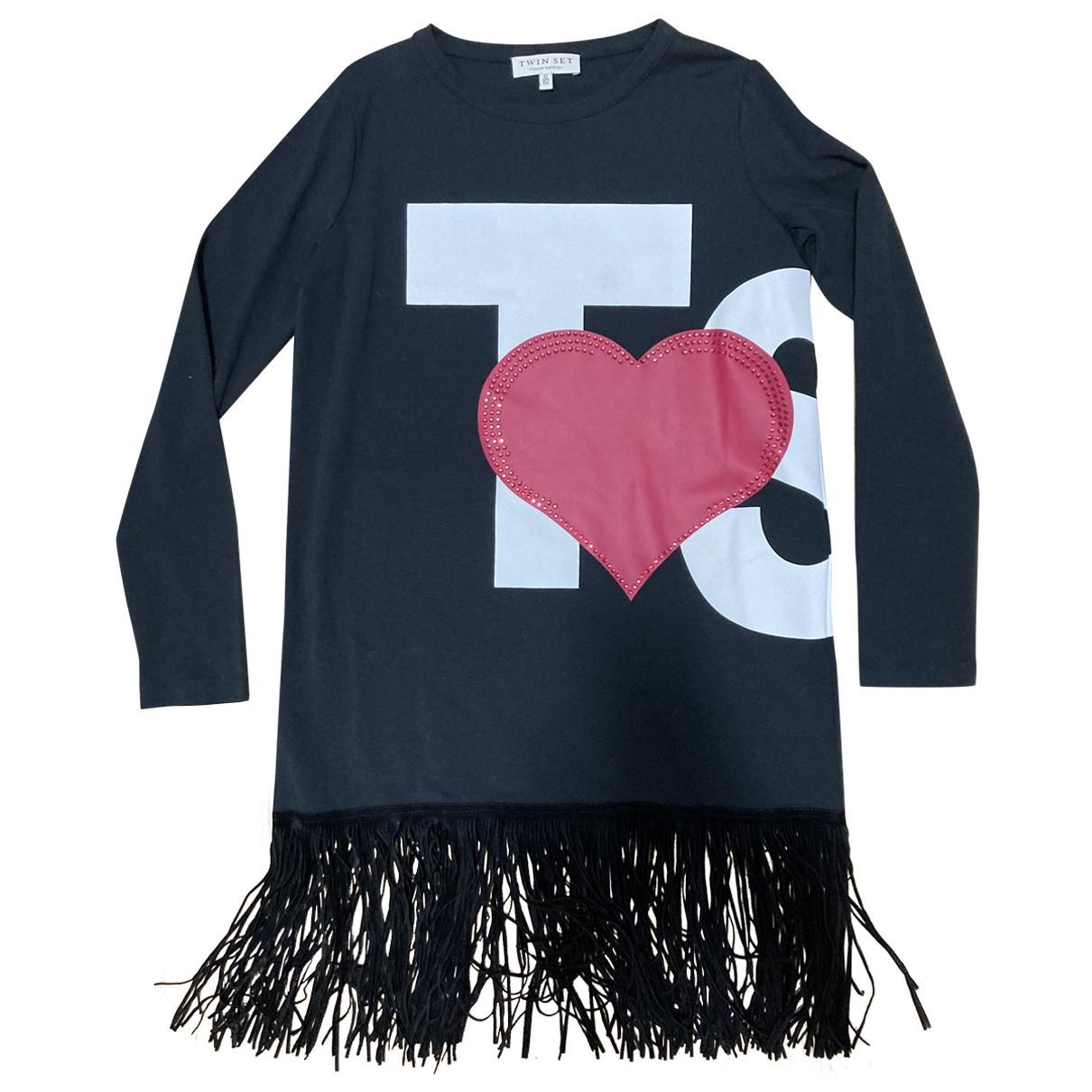 Twin Set - Robe    pour enfant en coton - noir