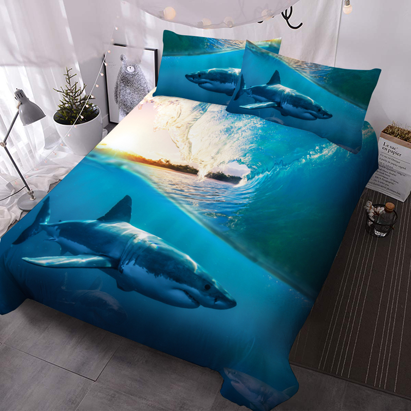 Shark 3D Animal Lightweight Comforter 3 Pieces Microfiber No-Fading Comforter Set with 2 Pillowcases