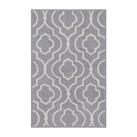 Arabesque Rectangular Rug, One Size , Gray