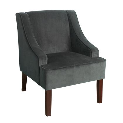 BM194010 Fabric Upholstered Wooden Accent Chair with Swooping Armrests  Gray and
