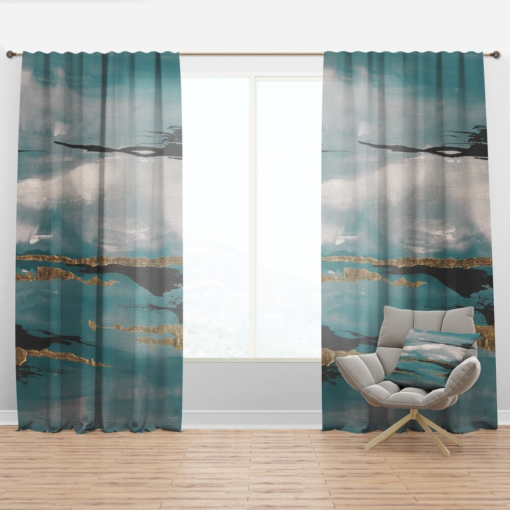 Designart 'Glam Teal Watercolor I' Modern & Contemporary Curtain Panel (50 in. wide x 90 in. high - 1 Panel)