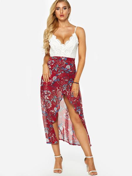 Yoins Burgundy Random Floral Print Lace Insert Backless Irregular Hem Dress
