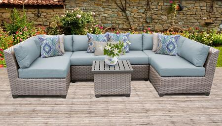 Florence Collection FLORENCE-07c-SPA 7-Piece Patio Set 07c with 2 Corner Chair   4 Armless Chair   1 End Table - Grey and Spa