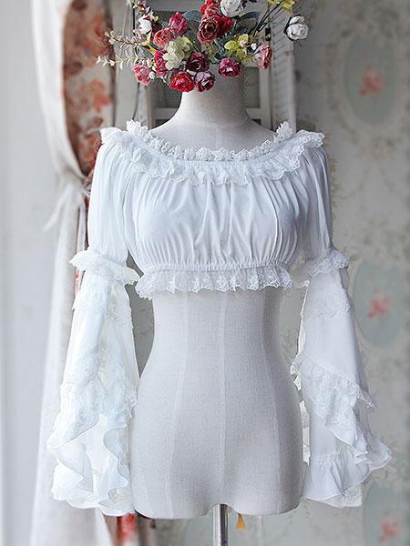 Milanoo Sweet Black Light Blue Chiffon Lolita Short Blouse Long Hime Sleeves Detachable Sleeves 2 Colors
