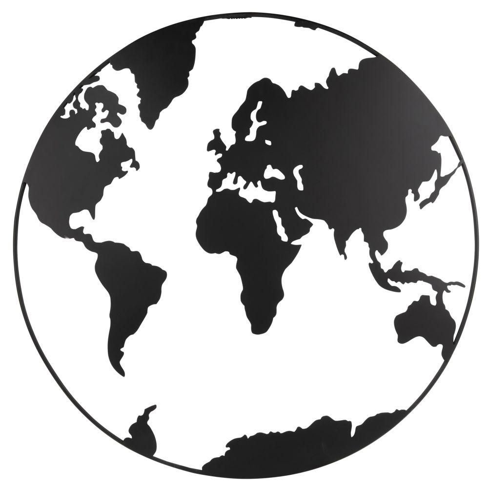 Wanddeko Weltkarte aus Metall, schwarz mit Lochmuster D80