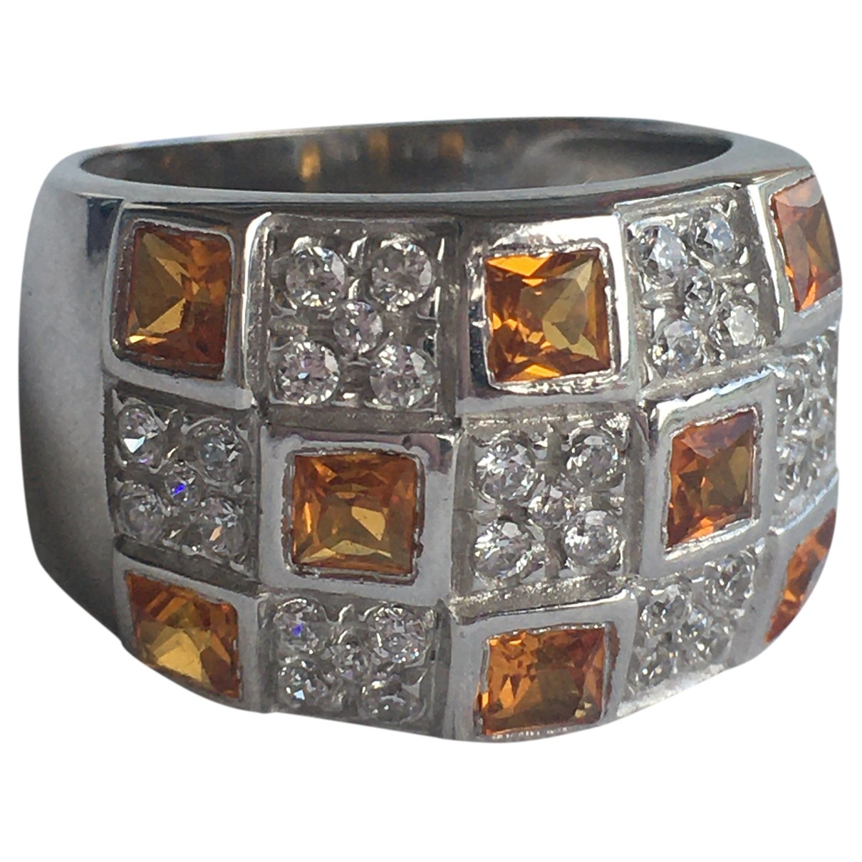 Non Signe / Unsigned Bagues Cocktails Ring in  Orange Weissgold