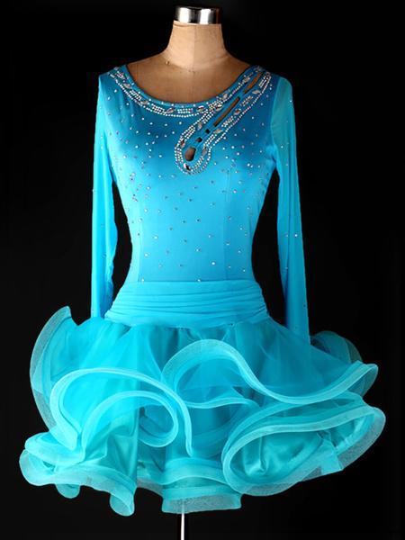Milanoo Dance Costumes Latin Dancer Dresses Organza Scoop Neck Long Sleeve Rhinestones Beaded Cut Out Ruffles Dancing Clothes Hallloween