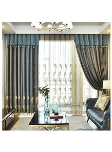 Modern Simple Grey Embroidered Decorative Custom Sheer Curtains for Living Room Bedroom