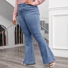 Jeans mit hoher Taille und ausgestelltem Beinschnitt