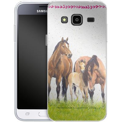 Samsung Galaxy J3 (2016) Silikon Handyhuelle - Pferdefreunde Familie von Pferdefreunde