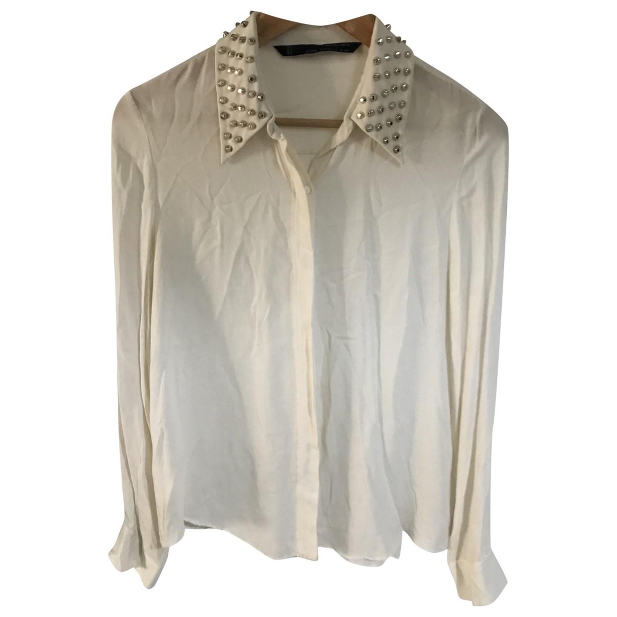 Zara - Pull   pour femme en soie - beige