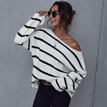 Boat Neck Drop Shoulder Striped Sweater