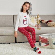 Girls Penguin Print Top & Plaid Pants PJ set