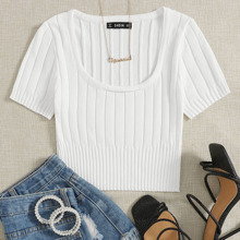 Scoop Neck Ribbed Knit Top