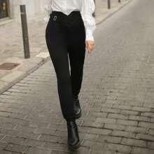 Asymmetrical Waist Solid High Waist Pants