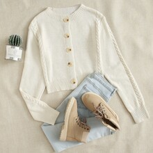 Cable Knit Panel Button Up Cardigan