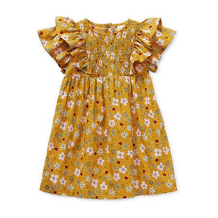 Okie Dokie Baby Girls Short Sleeve Babydoll Dress, 24 Months , Yellow