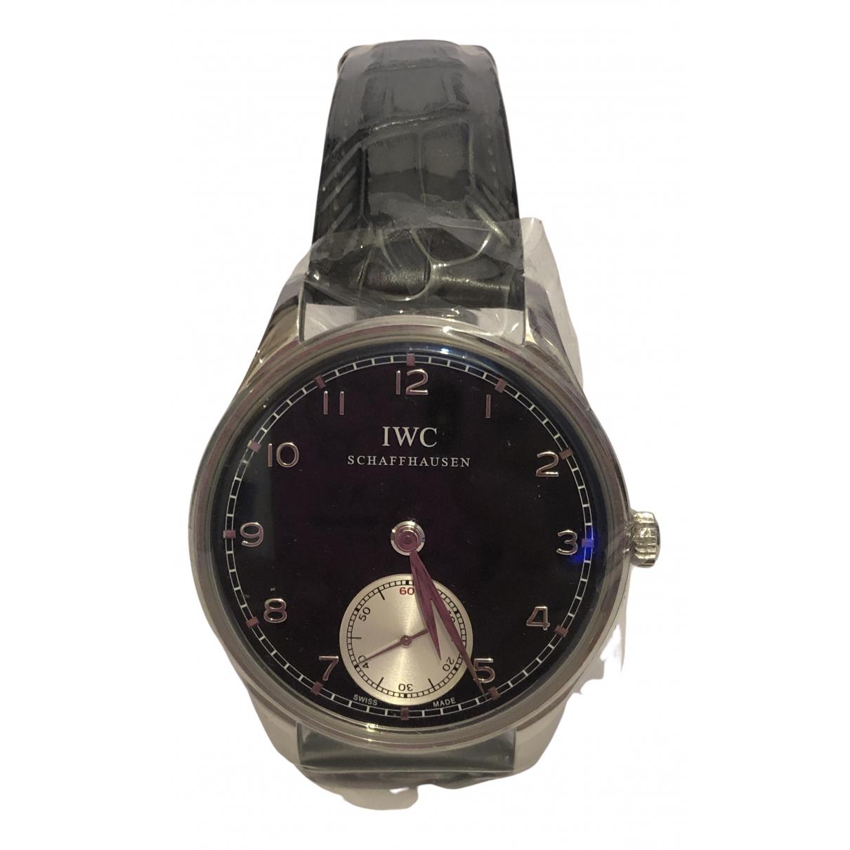 Iwc Portugaise Black Steel watch for Men N