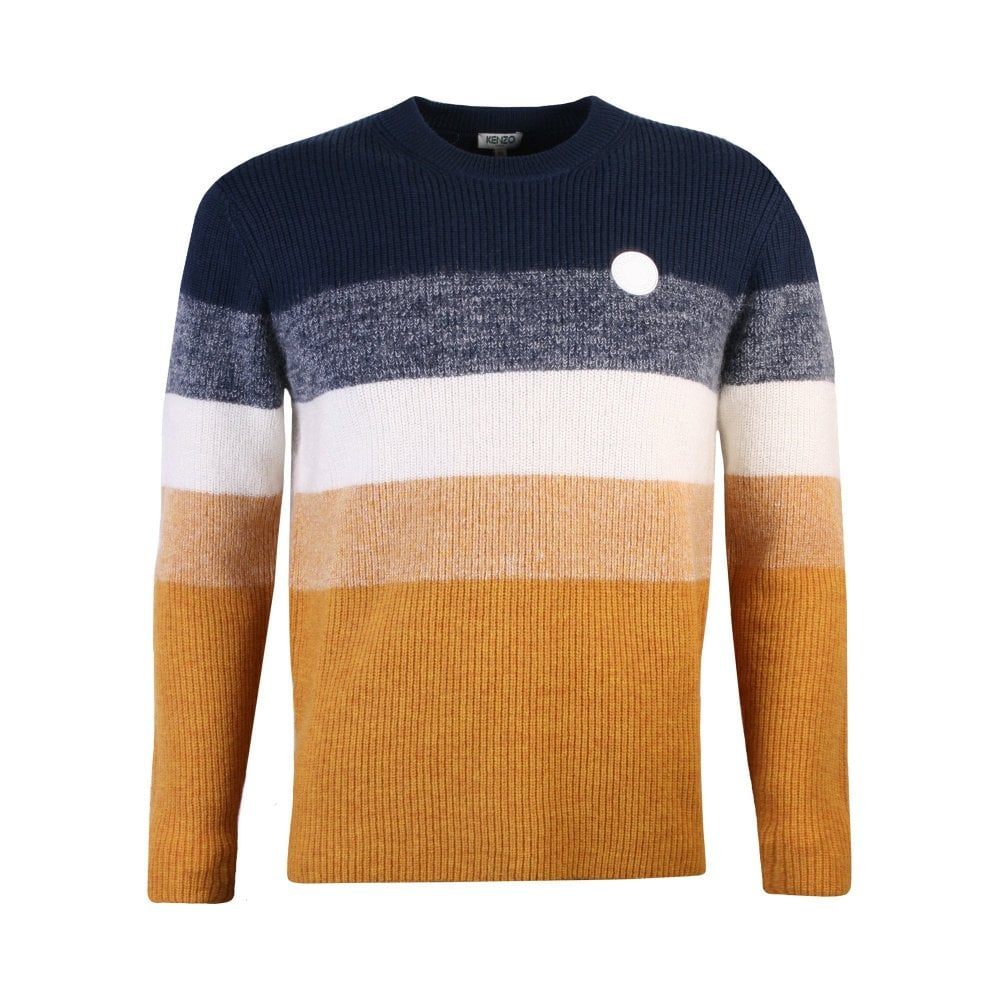 Kenzo Stripped Wool Jumper Multi-Coloured Colour: NAVY, Size: EXTRA LARGE