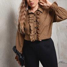 Bluse mit Dalmatiner Muster, Rueschenbesatz und Knopfen vorn