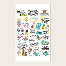 Tree & Letter Graphic Tattoo Sticker