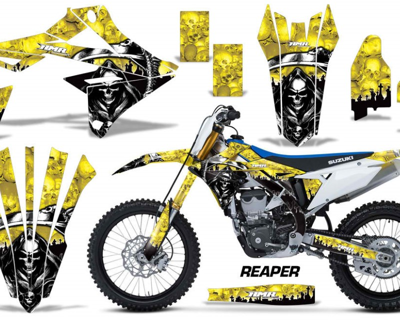 AMR Racing Dirt Bike Graphics Kit Decal Sticker Wrap For Suzuki RMZ450 2018+áREAPER YELLOW