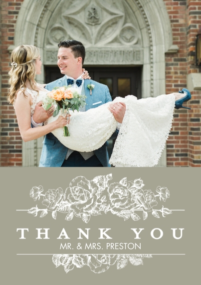 Wedding Thank You Flat Matte Photo Paper Cards with Envelopes, 5x7, Card & Stationery -Thank You Floral Bouquet